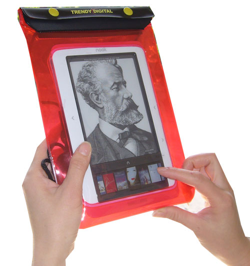 WaterGuard Waterproof Case for Nook, Red Border