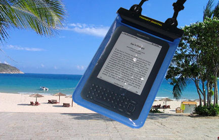 WaterGuard Plus Waterproof Case for Kindle 3 w/Padding, Blue - Click Image to Close