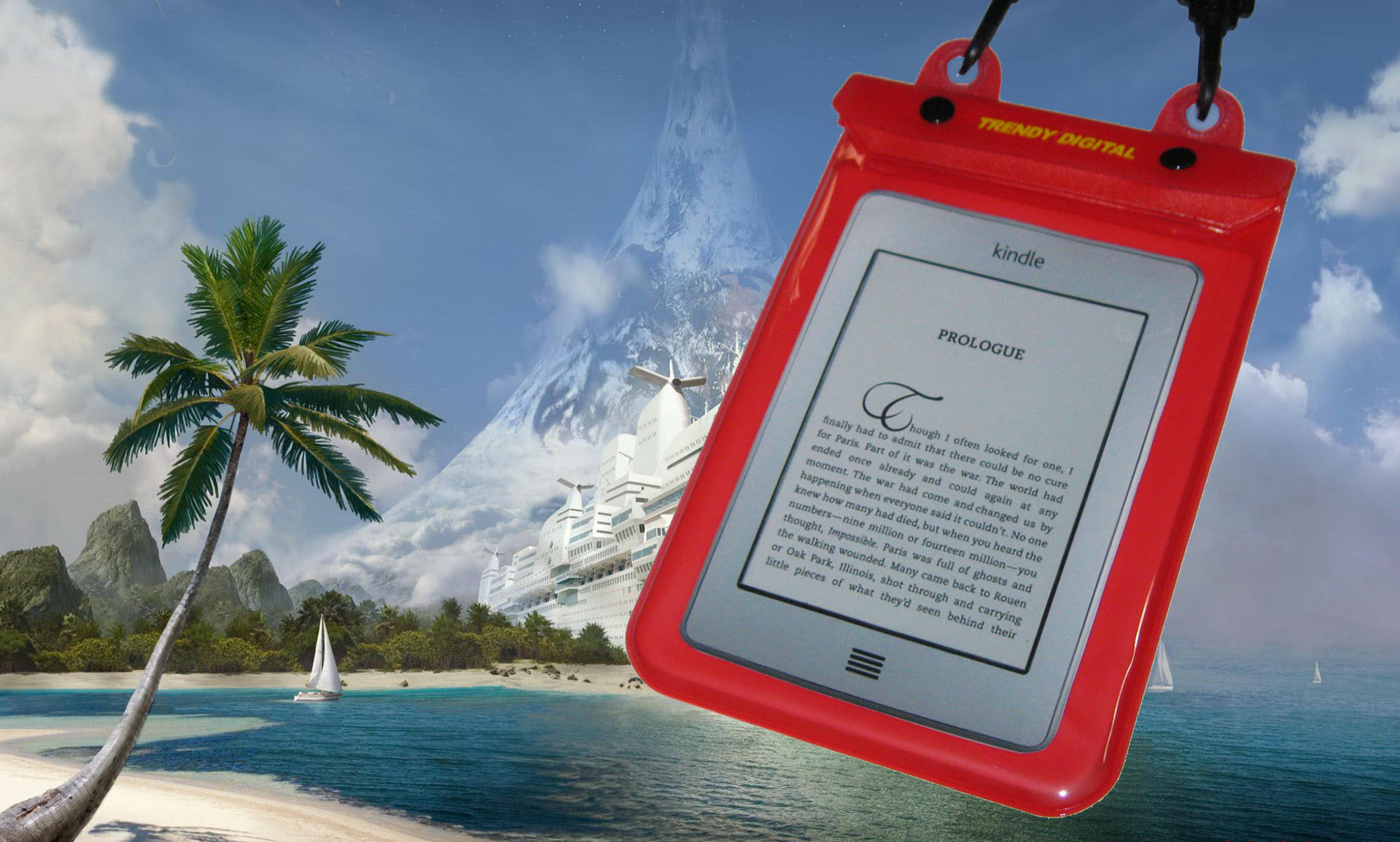 WaterGuard Plus Waterproof Case for Kindle Touch w/Padding, Red