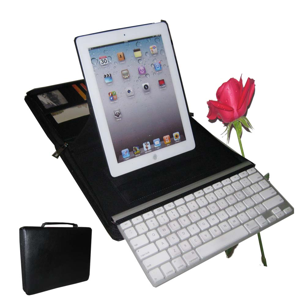 KasePal for iPad & Apple Wireless Keyboard, Real Leather (Black)